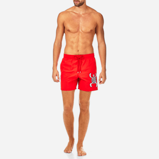 Men Embroidered Embroidered - Primitive Turtle Placed Embroidery Swim shorts, Poppy red frontworn