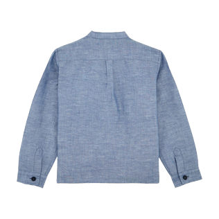 Boys Others Solid - Boys Linen Cotton Shirt Solid, Indigo back