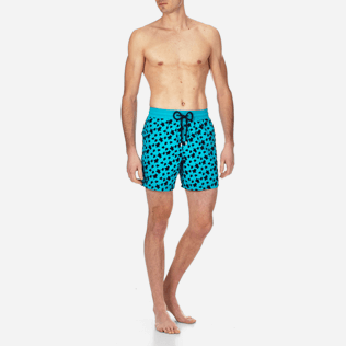 Men Classic Printed - Men Swimtrunks Flocked Micro ronde des tortues, Curacao frontworn