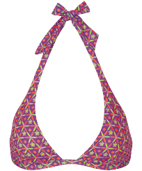 Donna Foulard Stampato - Top bikini donna all'americana Indian Ceramic, Pink berries front