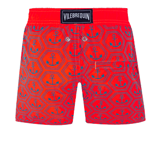 Boys Others Printed - Boys Swim Trunks Ultra-Light and Packable Ancre de Chine Fluo, Neon orange back