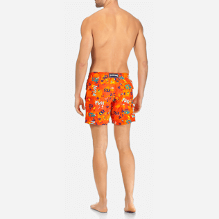 Men Classic / Moorea Embroidered - Men Swimtrunks Printed and Embroidered Sea Sex and Fun - Limited Edition, Kumquat backworn