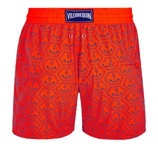 Men Ultra-light classique Printed - Men Swim Trunks Ultra-Light and Packable Ancre de Chine Fluo, Neon orange back