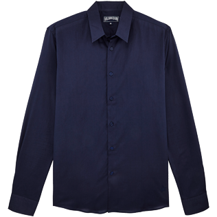 Men Shirts Solid - Solid Cotton veil shirt, Navy front