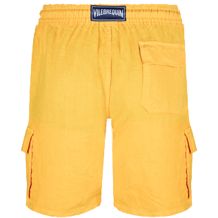 Men Others Solid - Men Cargo Linen Bermuda Shorts Solid, Curry back