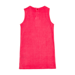 Girls Others Solid - Girls Terry Cloth Sleevless Dress Solid, Hibiscus back