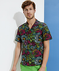 Men Others Printed - Men Bowling Shirt Cotton and Linen Evening Birds, Black frontworn