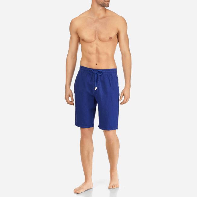 Vilebrequin - Bermudas cortas de lino con estampado liso y bolsillos italianos para hombre - 3