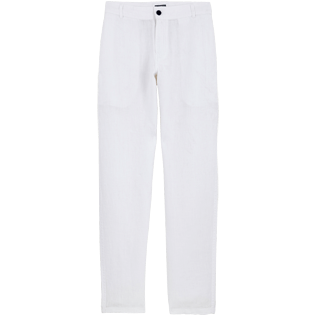 Men Others Solid - Men straight Linen Pants Solid, White front