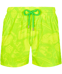 Men Stretch classic Printed - Men Stretch Short Swim Trunks 1987 Objets Cultes , Neon green front