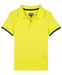 Boys Others Solid - Boys Cotton Pique Polo Shirt Solid, Lemon front