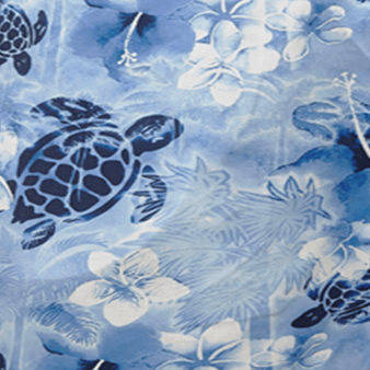 Men Swimwear Ultra-light and packable Jungle Turtles, Batik blue pattern