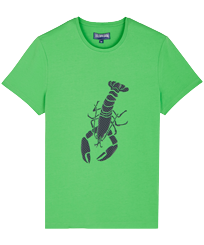 Men Others Printed - Men Cotton T-Shirt Lobster 3D effect, Grass green front