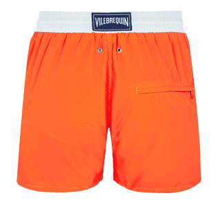 Men Ultra-light classique Solid - Men Swim Trunks Ultra-Light and Packable Solid Bicolore Fluo, Neon orange back