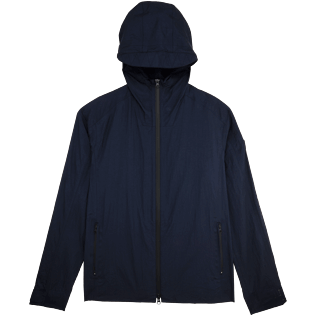 Men Vests AND Jackets Solid - Hooded water resistant spray jacket, Navy front