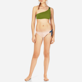 Women Asymmetrical Solid - Women Asymmetric Bikini Top Neoprene, Moss frontworn