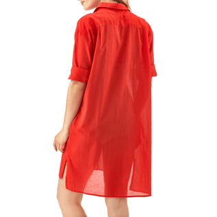 Women Dresses Solid - Solid dress shirt, Poppy red backworn