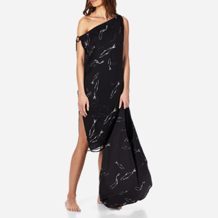 Women Others Printed - Women Cowl neck Silk Voile Dress Fish Dance, Black supp3