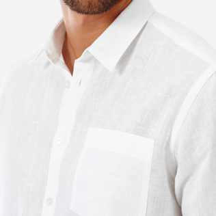 Men Shirts Solid - Men Linen Shirt Solid, White supp1