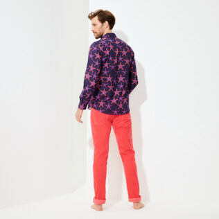 Others Printed - Unisex Cotton Voile Light Shirt Starfish Dance, Sapphire backworn