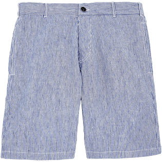 Men Shorts Graphic - Micro Stripes Straight bermuda, Ultramarine front