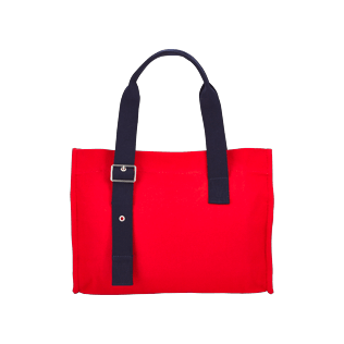 Others Solid - Small Solid Cotton beach bag, Poppy red back