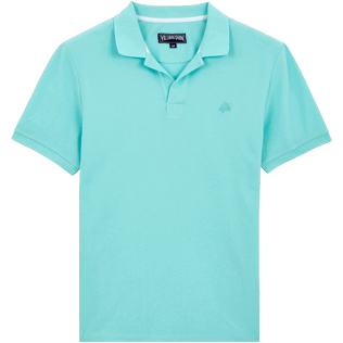 Men Others Solid - Men Cotton pique Polo Shirt Solid, Lagoon front