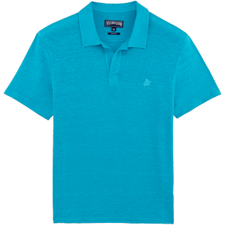 Men Polos Solid - Solid Linen jersey polo, Curacao front