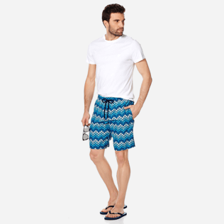 Men Long classic Printed - Men Swim Trunks Long Herringbones Turtles, Navy supp2