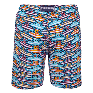 Men Long classic Printed - Men Long Stretch Swimwear Mykonos, Tropezian blue back