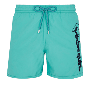 Men Classic Embroidered - Men Swim Trunks Placed Embroidery Le Vilebrequin, Veronese green front