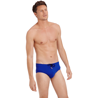 Men Swim brief and Boxer Solid - Men Fitted Swim briefs Solid, Neptune blue frontworn