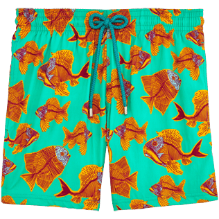 Men Stretch classic Printed - Prehistoric Fish Superflex Swim shorts, Veronese green front