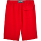Men Shorts Solid - Men Italian Pockets Linen Bermuda Shorts Solid, Poppy red back