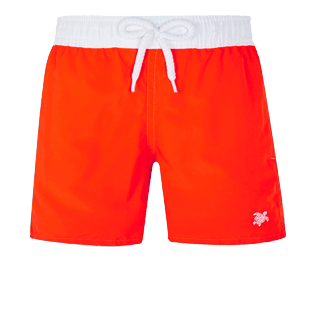 Boys Others Solid - Boys Swim Trunks Ultra-Light and Packable Solid Bicolor Fluo, Neon orange front