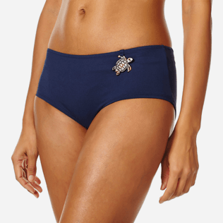 Women Shorty Printed - Women Bikini Bottom Shortie Brief Turtles Stars, Navy supp1