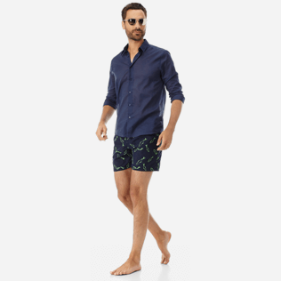 Men Embroidered Embroidered - Men Swimtrunks Embroidered Fish Dance - Limited Edition, Navy supp2