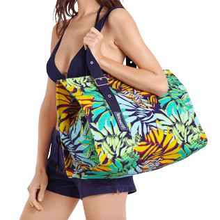 Autros Estampado - Bolsa de playa grande con estampado Jungle, Midnight blue supp1