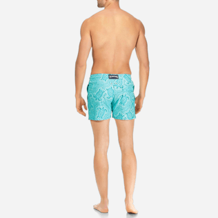 Men Classic / Moorea Printed - Men Stretch Swimtrunks Hypnotic Turtles, Curacao backworn