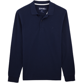 Men Polos Solid - Solid Long sleeves Cotton pique polo, Navy front