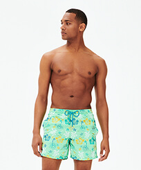 Men Classic Embroidered - Men Swim Trunks Embroidered Tropical turtles - Limited Edition, Cardamom frontworn