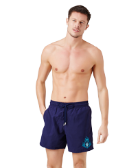 Men Classic Embroidered - Men Swim Trunks Pranayama Placed embroidery, Sapphire frontworn