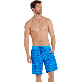Men Long classic Printed - Men Swimwear Flocked Hippocampes, Swimming pool frontworn