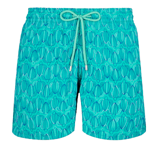 Men 017 Embroidered - Men Swim Trunks Embroidered Armor Turtles - Limited Edition, Veronese green front
