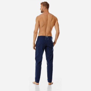 Hombre Autros Liso - Men Twill Stretch Cotton Pants Massimo Vitali, Azul marino backworn