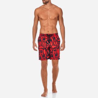 Men Long Printed - Silex Fishes Long Cut Swim shorts, Poppy red frontworn