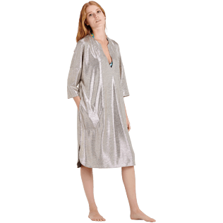 Mujer Autros Liso - Women Lurex mesh Beach Cover-up Solid, Oro frontworn