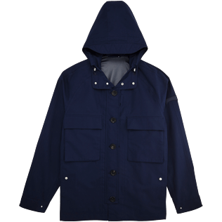 Men Vests AND Jackets Solid - Water proof hooded rain jacket, Navy front