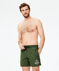 Men Classic Embroidered - Men Swim Trunks Pranayama Placed embroidery, Pepper frontworn