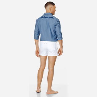Men Others Solid - Men White 70s Shorts, White backworn